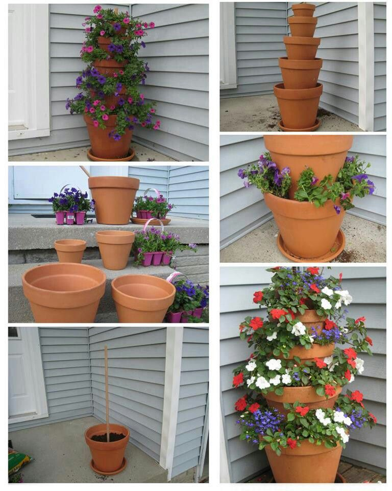 Diy Stacked Herb Garden: Must Make These For My Porch.