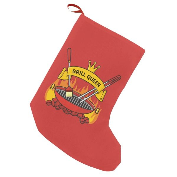 Grill Queen Small Christmas Stocking #stocking #christmas #sock #xmas
