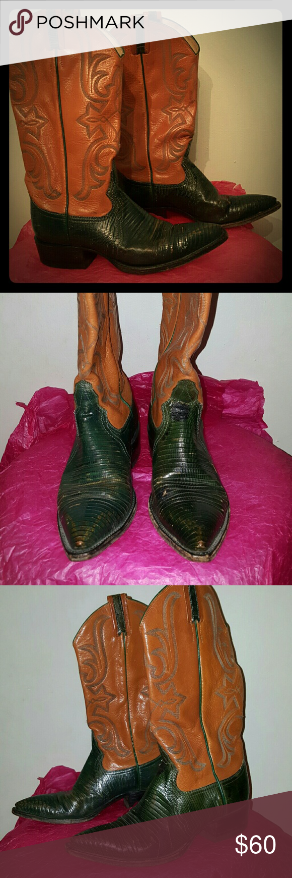 "Larry Mahan women's size 7 B western lizard boot Vintage pair! Beautiful combo of an earth palette. 1 1/2"" Cuban heel. Dark green lizard bottom, embroidered dark orange upper part. Lizard part is partially discolored and there are couple of cuts due to vintage nature of this pair. Size marked 270, 2 for B, 7 for size, 0 for a full size. LOL means ladies. Handcrafted in El Paso. If you need more pics, let me know. Larry Mahan Shoes Heeled Boots"