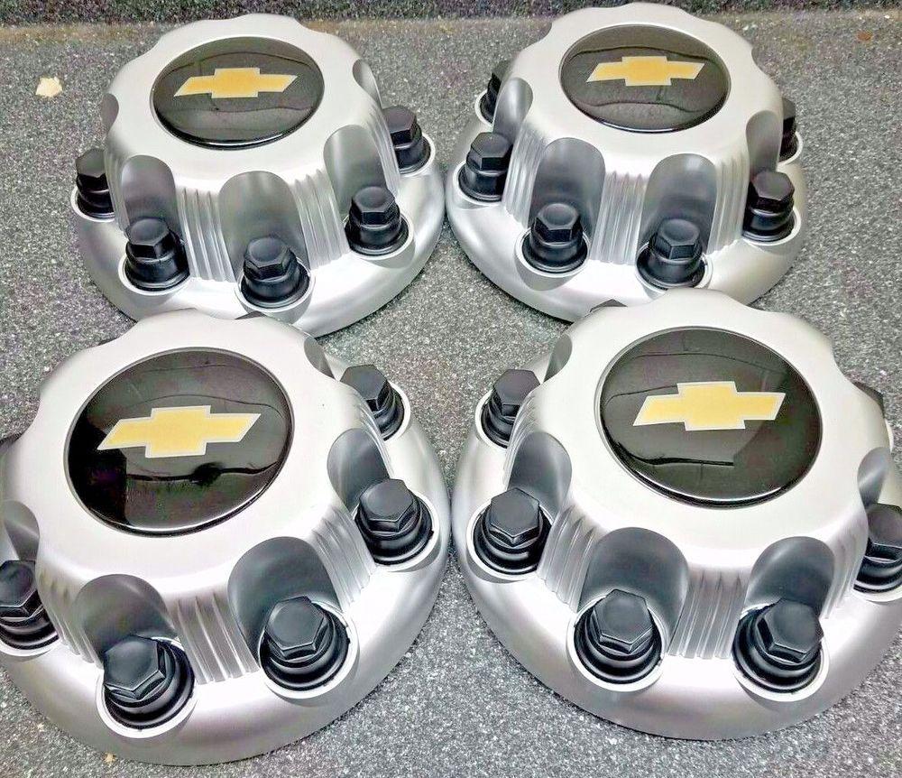 Details About 4pcs New Black Silver 8 Lug Center Caps Chevy
