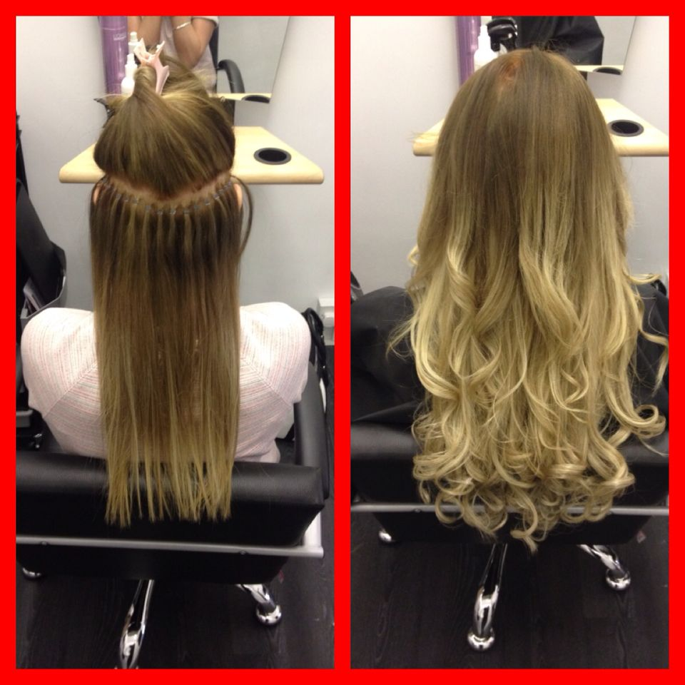 2 rows of Micro Link Weft Extensions Individual hair