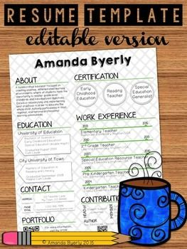Resume Template For Teachers Free Editable Teacher Resume Template  Tpt Free Lessons