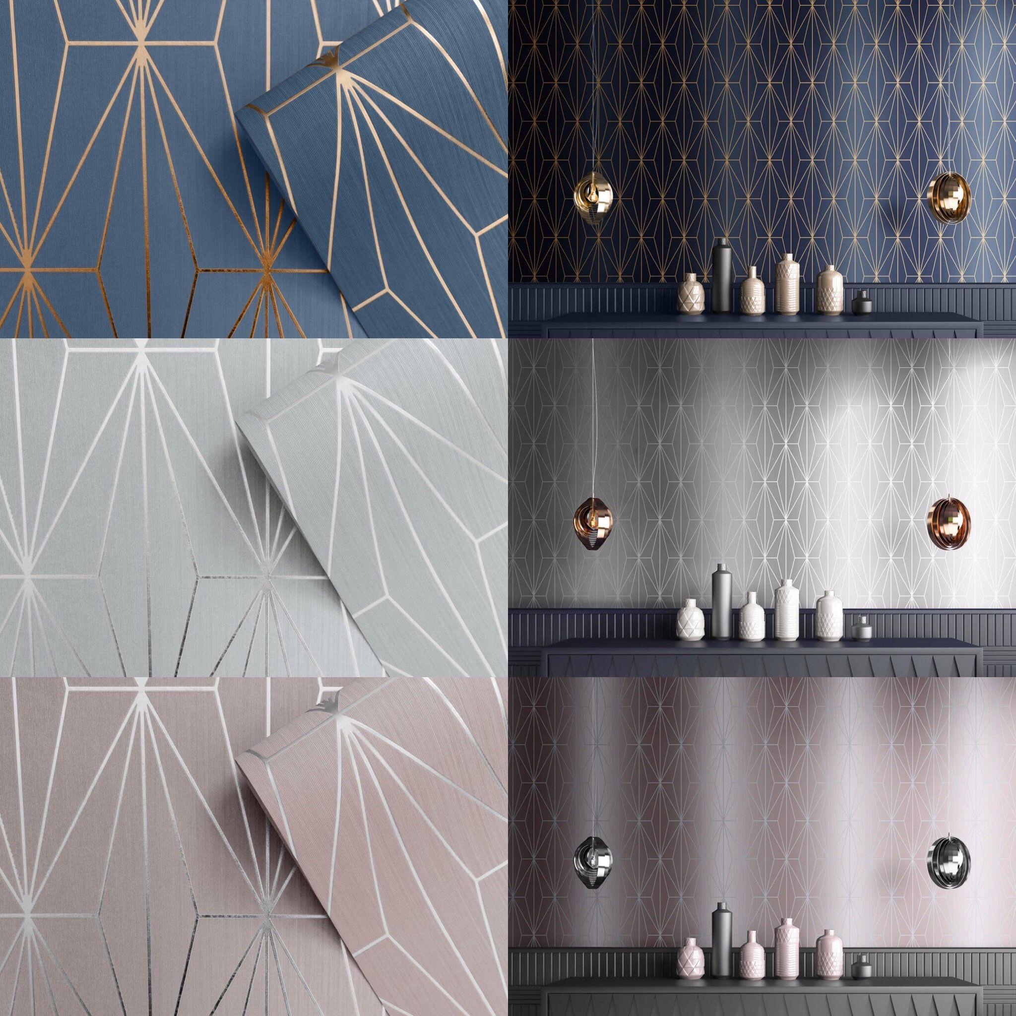 Muriva Kayla Metallic Geometric Wallpaper in 2020