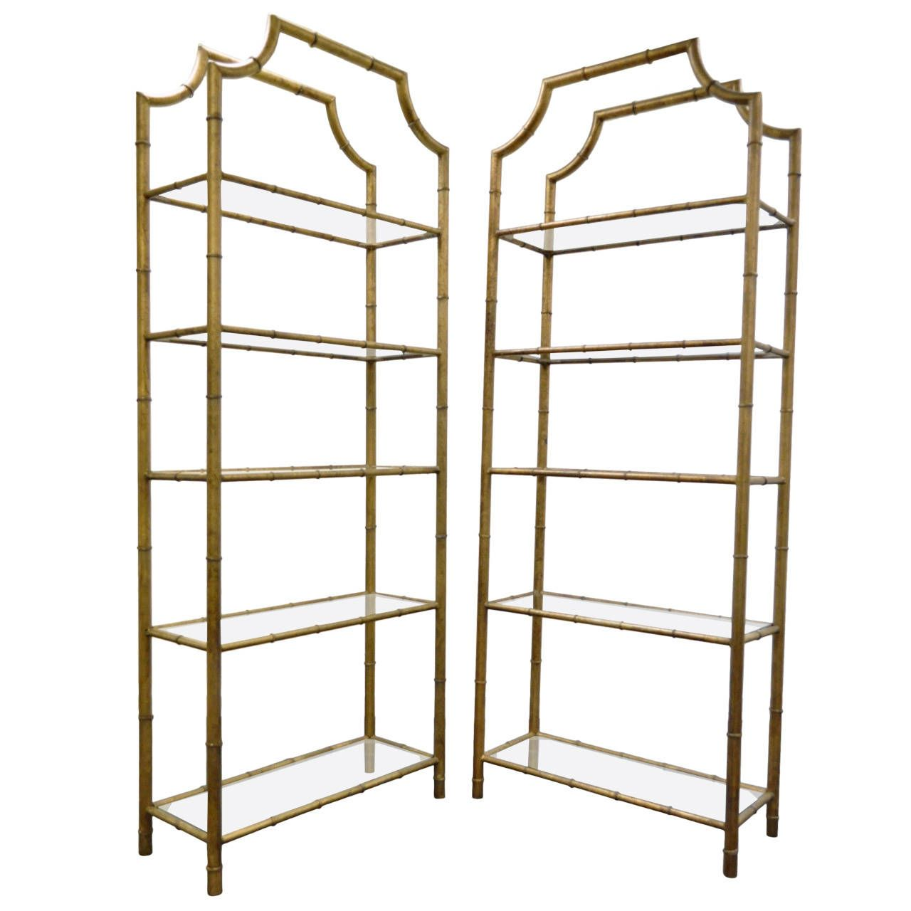 View This Item And Discover Similar Shelves For Sale At   Stunning Pair Of  Vintage Hollywood Regency Faux Bamboo Etageres. This Wonderful Pair Of Gilt  Metal ... Amazing Pictures