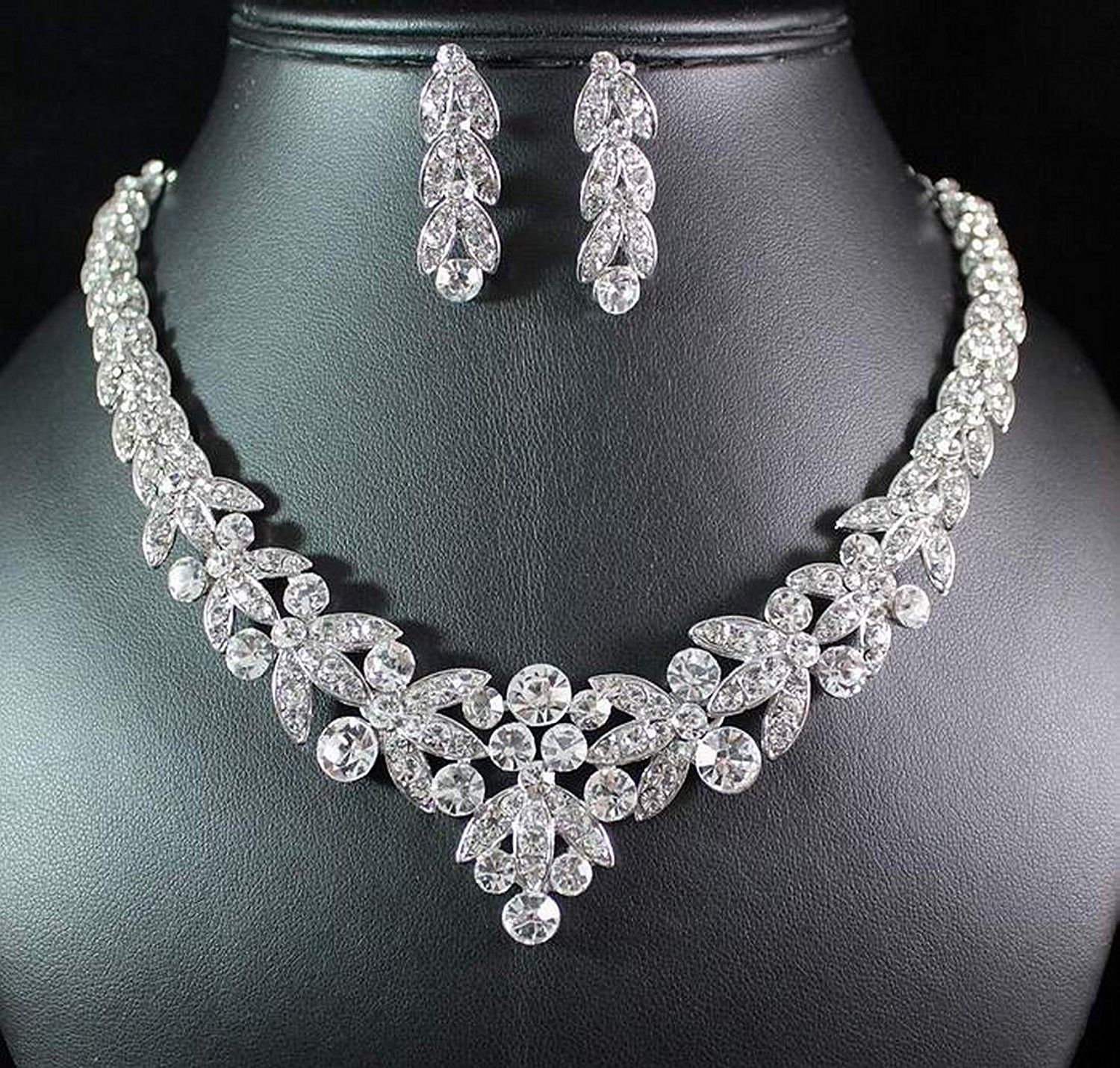 new Clear Silver White Crystal Rhinestone Bridal Necklace Jewelry Stud Set Earring
