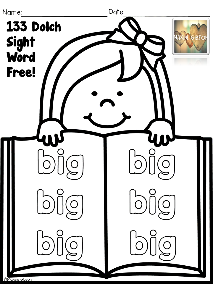 Free Sight Word / Sight Word Dolch Pre-Primer / Coloring ...
