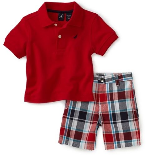 b17b3cdf2 Nautica Sportswear Kids Baby-Boys Infant Solid Shirt With Plaid Playwear  Short Set: http