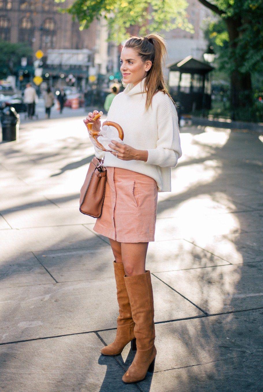 e0da78a98613 10.16 brooklyn bridge (Paper Crown sweater + Rachel Antonoff  irene  mini  skirt in light red corduroy + Sam Edelman  silas  almond toe OTK boots in  camel + ...