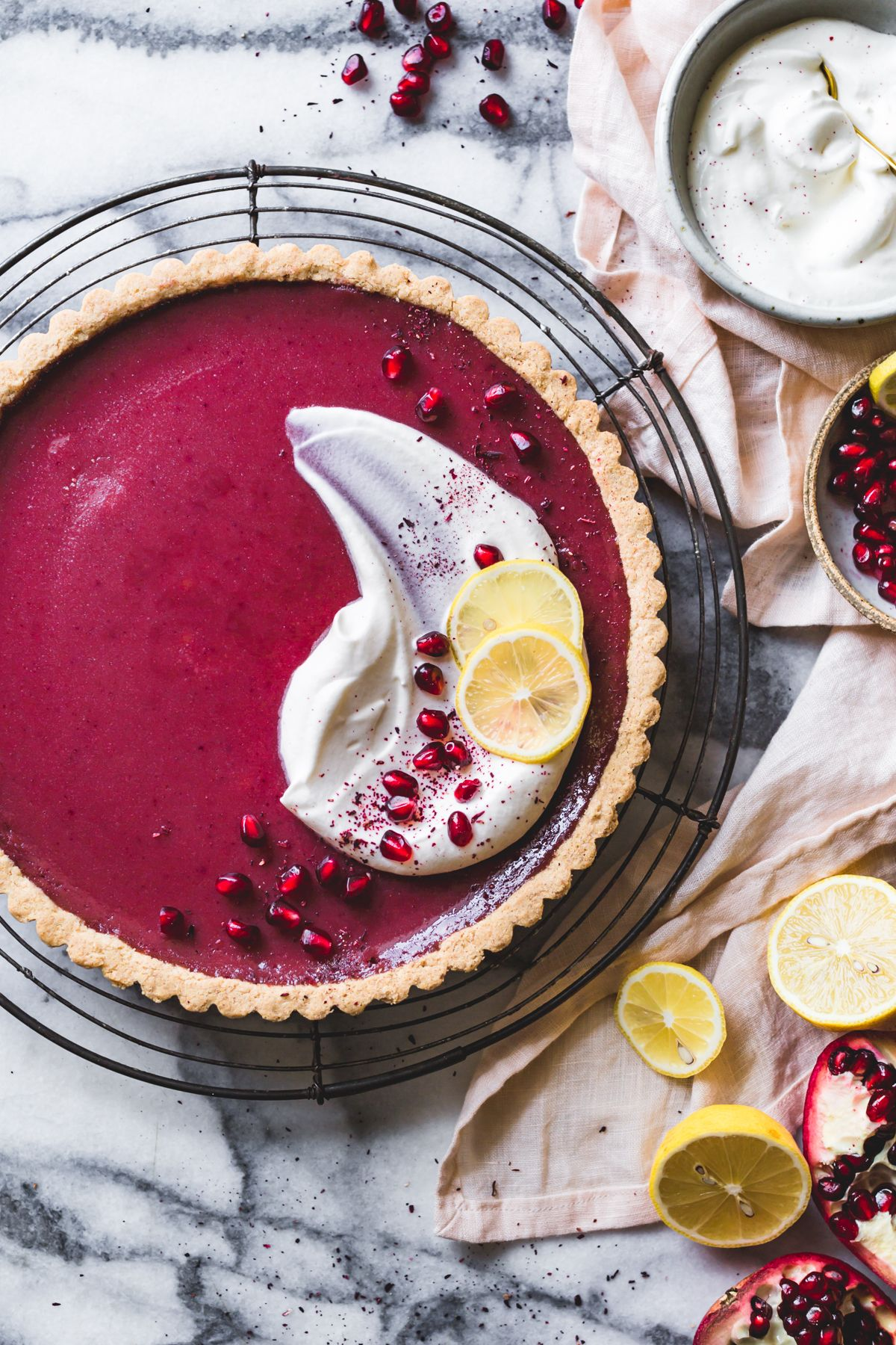 Pomegranate Tart With Hibiscus Lemon And Almond Flour Crust
