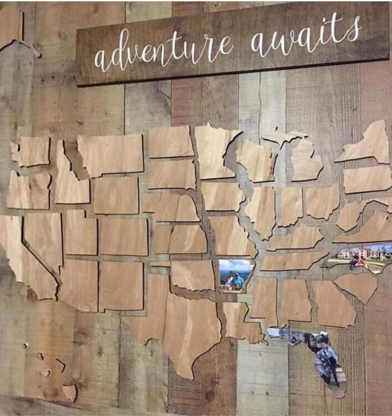 Wooden U S Photo Map Usa Photo Map Us Photo Map Travel Etsy Wooden Map Wooden Wall Art Wood Map