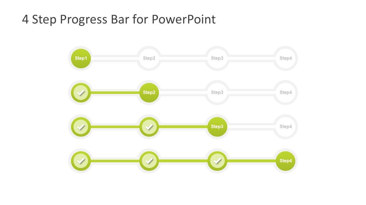 4 Step Progress Bar Design For Powerpoint Slidemodel Progress Bar Bar Design Powerpoint