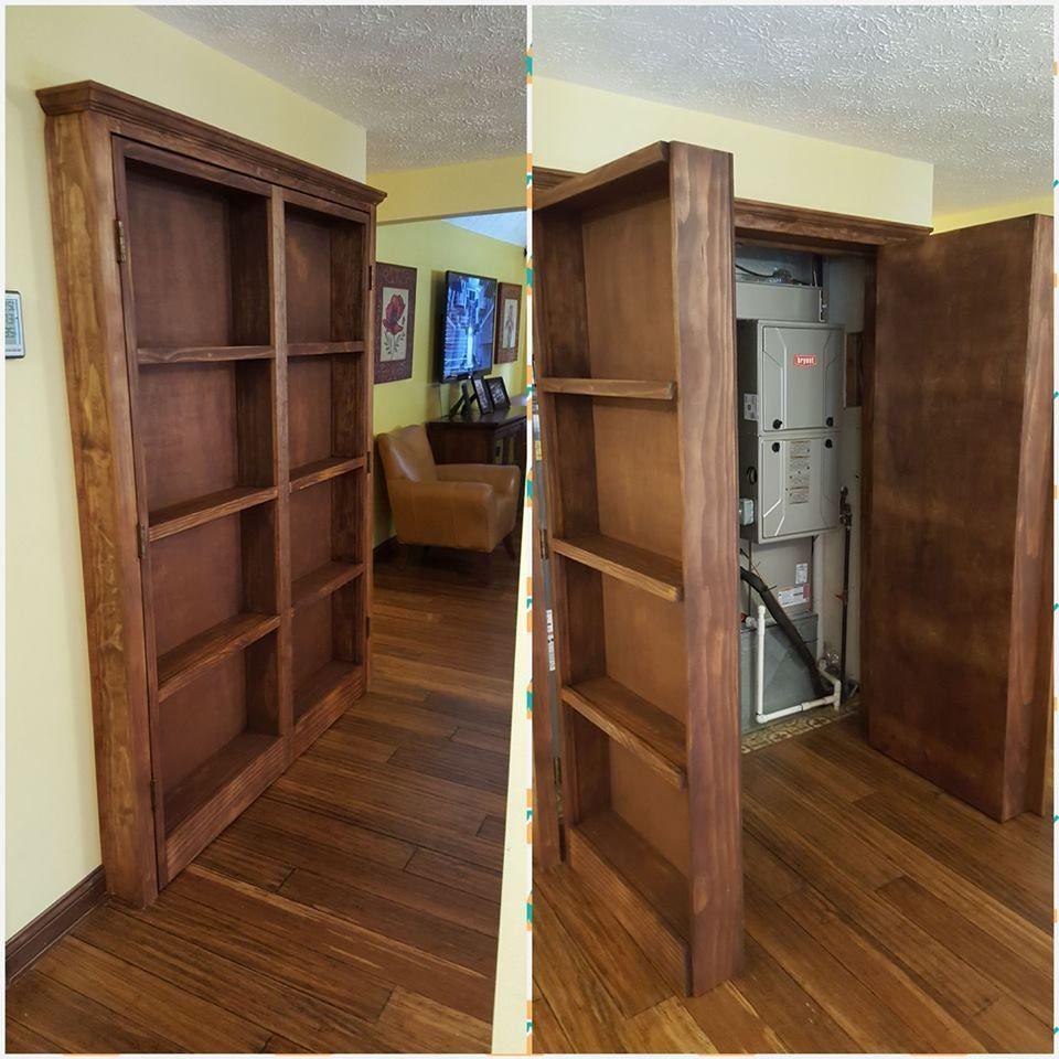 Bookshelf Hidden Doors Over Closet - DIY