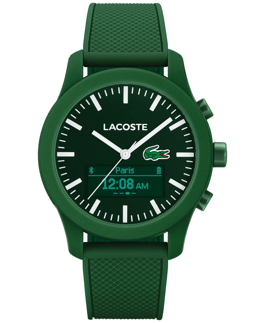 Lacoste Men's Analog-Digital L.12.12 Contact Green Rubber Strap Smart Watch 44mm 2010883