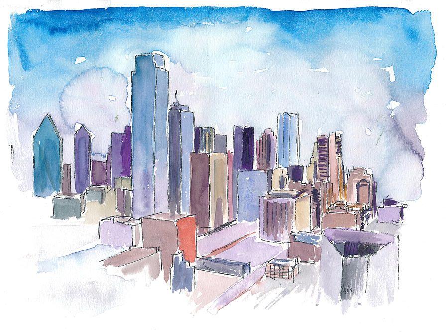 Dallas texas usa skyline impressionistic watercolor by m