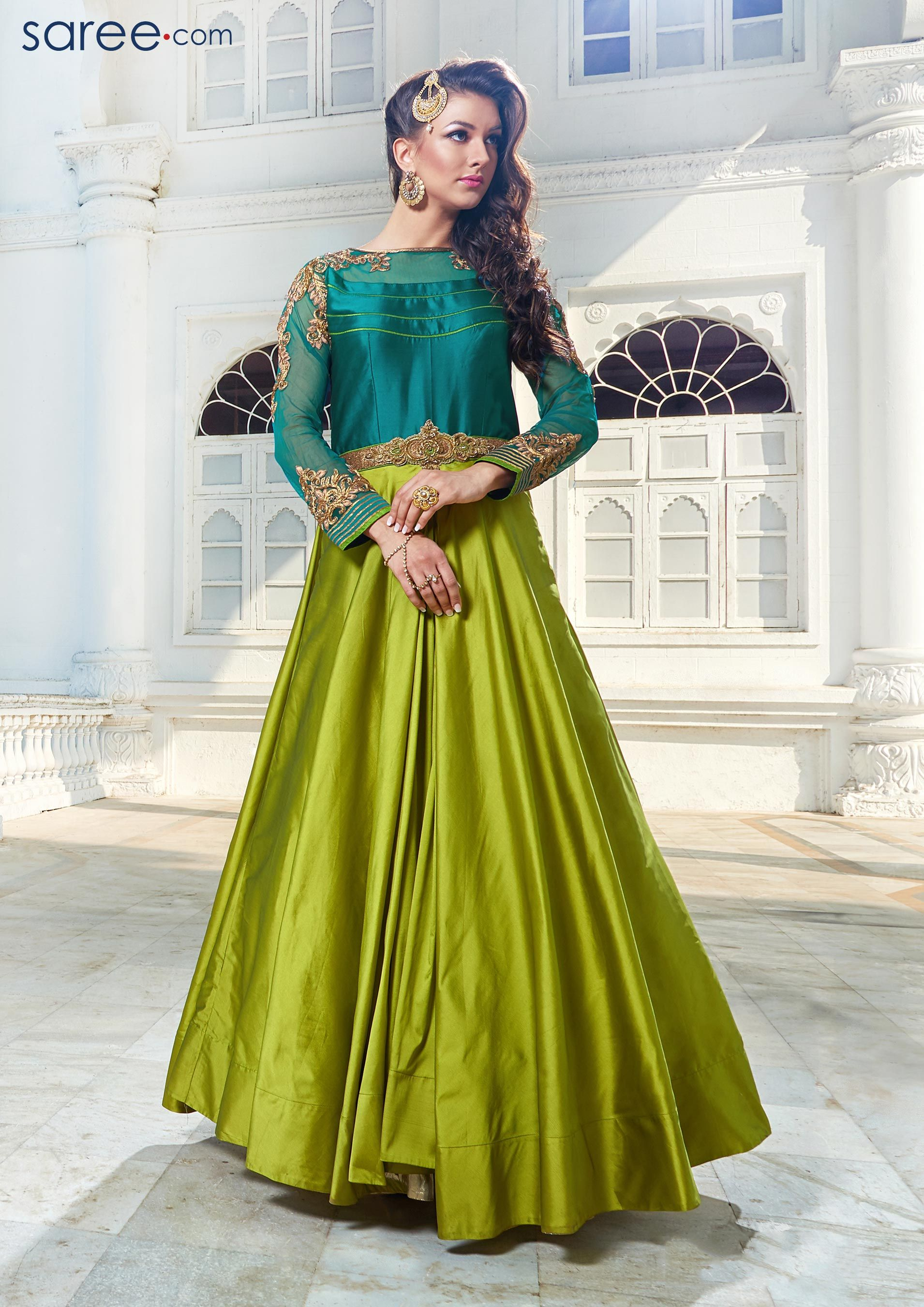 5c9d2d4514 GREEN AND SEA GREEN TAFFETA SILK GOWN WITH CUTDANA WORK