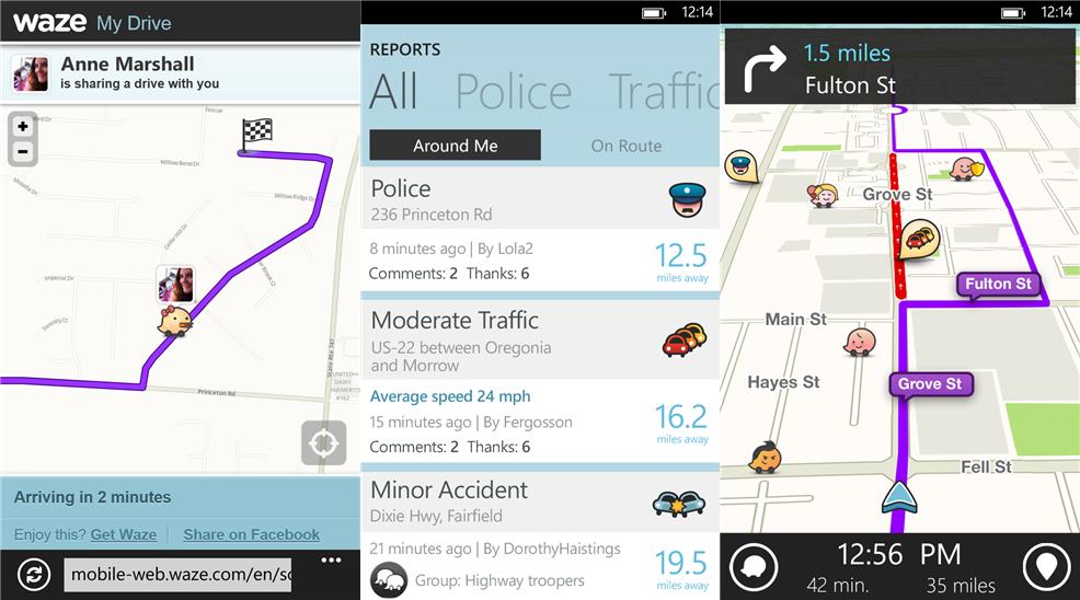 Waze GPS navigation app update for Windows Phone 8 devices