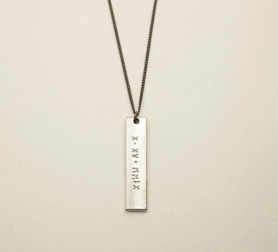 494735a0d81ae SILVER BAR Necklace // Customized Modern Rectangle Bar // Tag ...