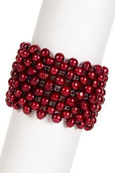 Honora Pearls 7-9mm Cherry Ringed Potato Freshwater Pearl Nine Row Stretch Bracelet