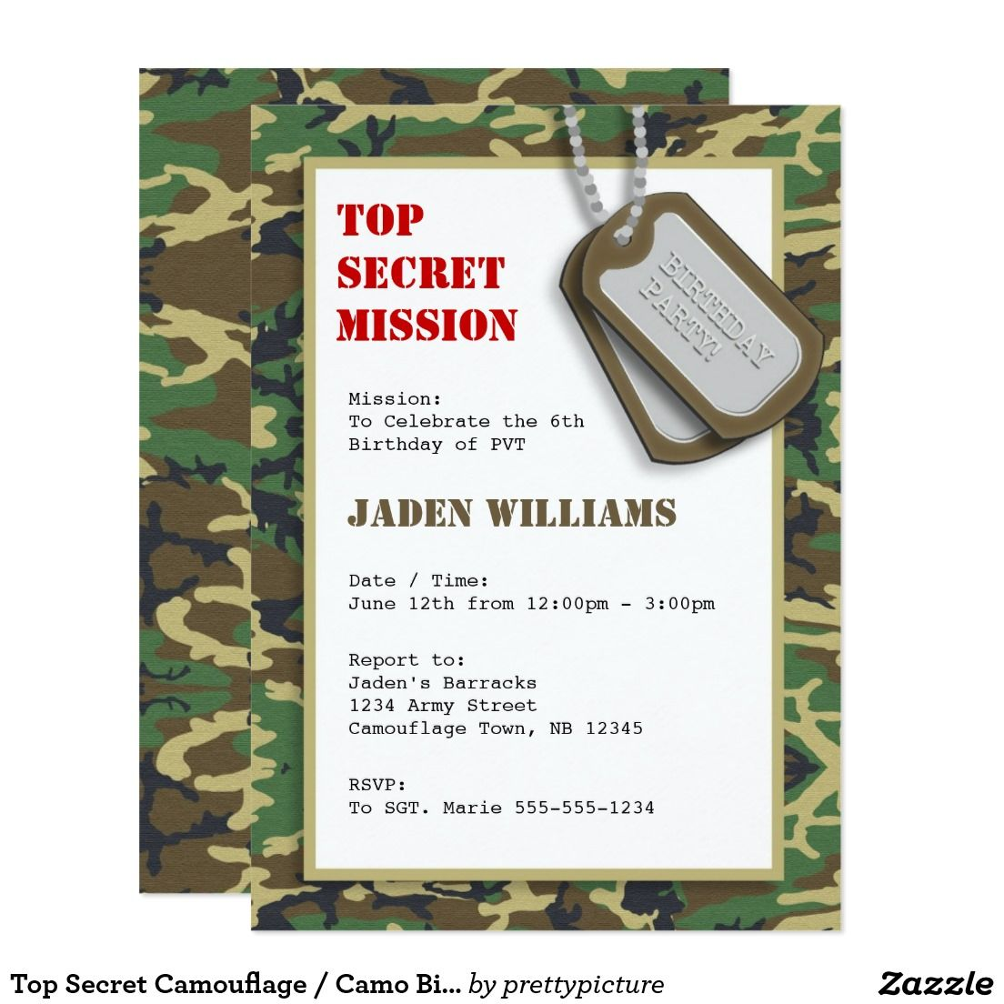 Top secret camouflage camo birthday party card military top secret camouflage camo birthday party card bookmarktalkfo Image collections