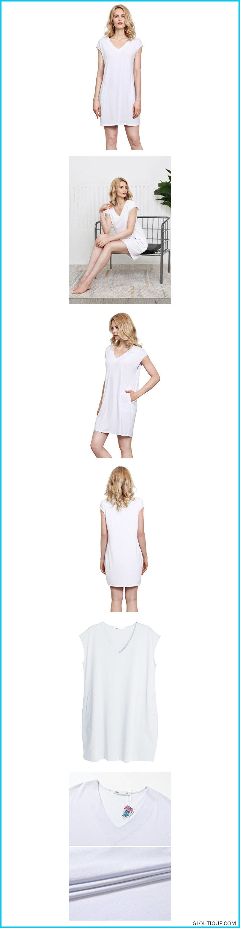 c4540b4128 FEATURES:Sleeveless dress with pockets, V neck dress, Casual Loose Swing  dre#shopVislivin Women's Casual Loose Pockets T-Shirt Dress Plain Simple ...