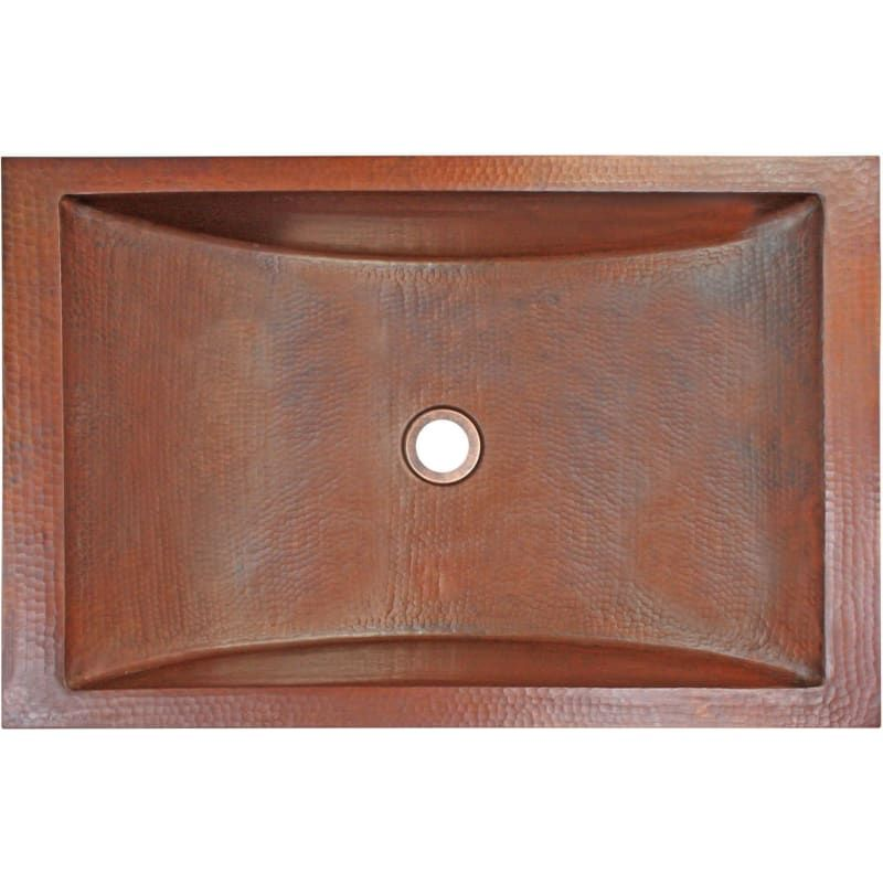Photo of Linkasink C052 Hammered Metals 20″ Rectangular Drop In or Undermount Bathroom Si Weathered Copper Fixture Lavatory Sink Copper