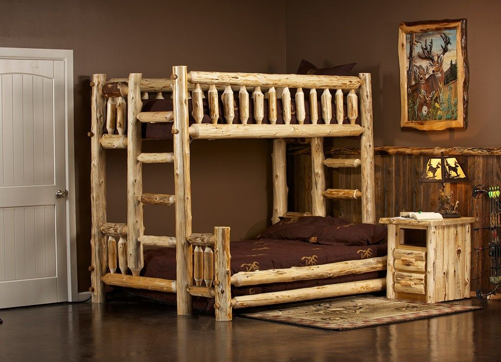 Log Bunk Beds For Kids Adult Cabin Log Bunk Beds Log Queen