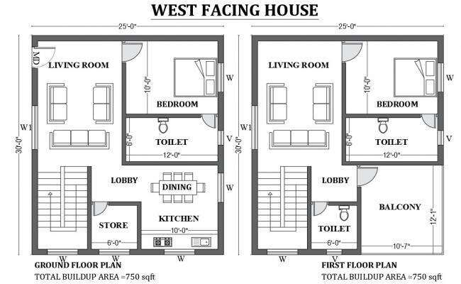 25'x30' West facing house plan as per vastu shastra is given in this FREE 2D Autocad drawing file Download now