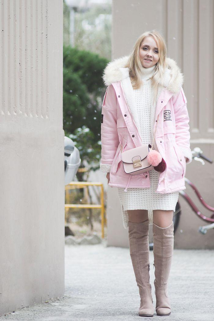52eca57bb03 Olga Choi fashion blogger South Korea myblondegal minimalism smart chic  Romwe pink parka jacket Romwe dusty pink over knee boots fur pompom  bag-00433