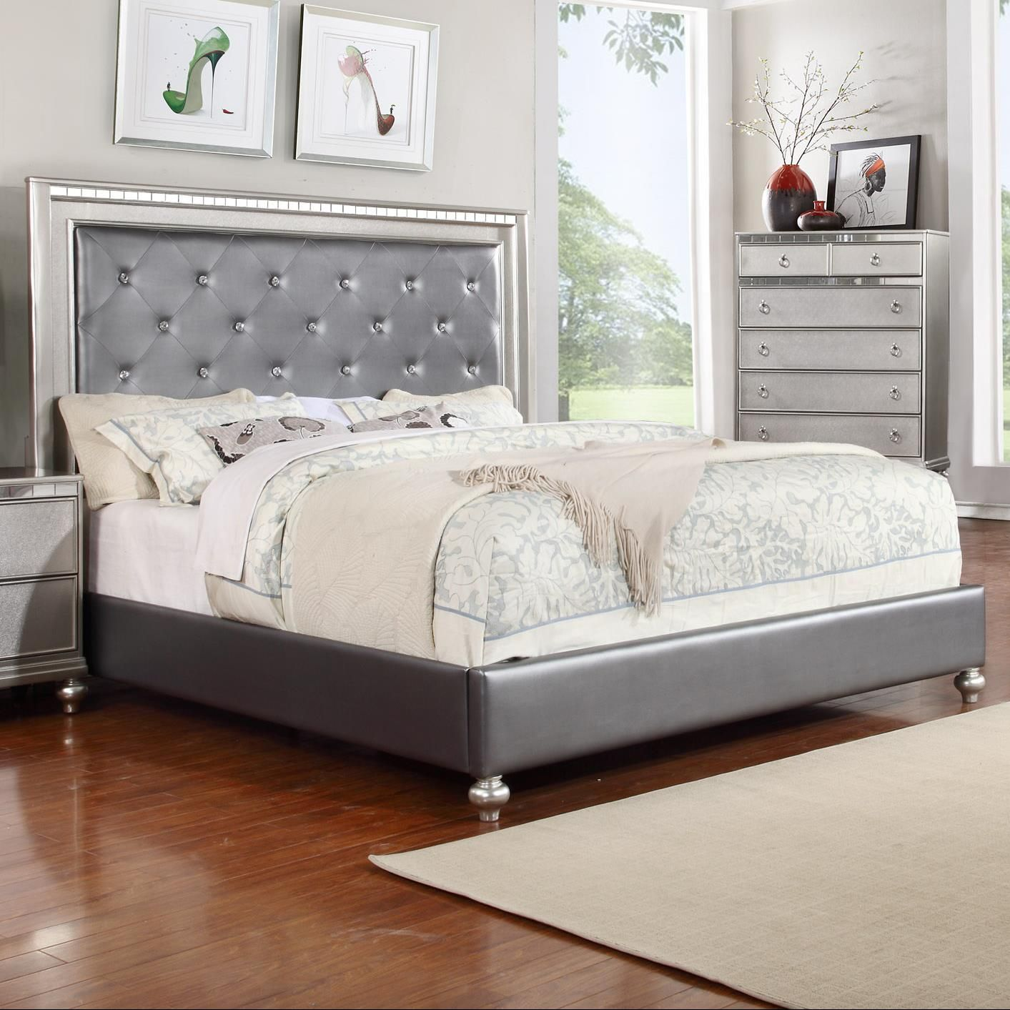 Glam Queen Upholstered Panel Bed With Rhinestone Accent Unique