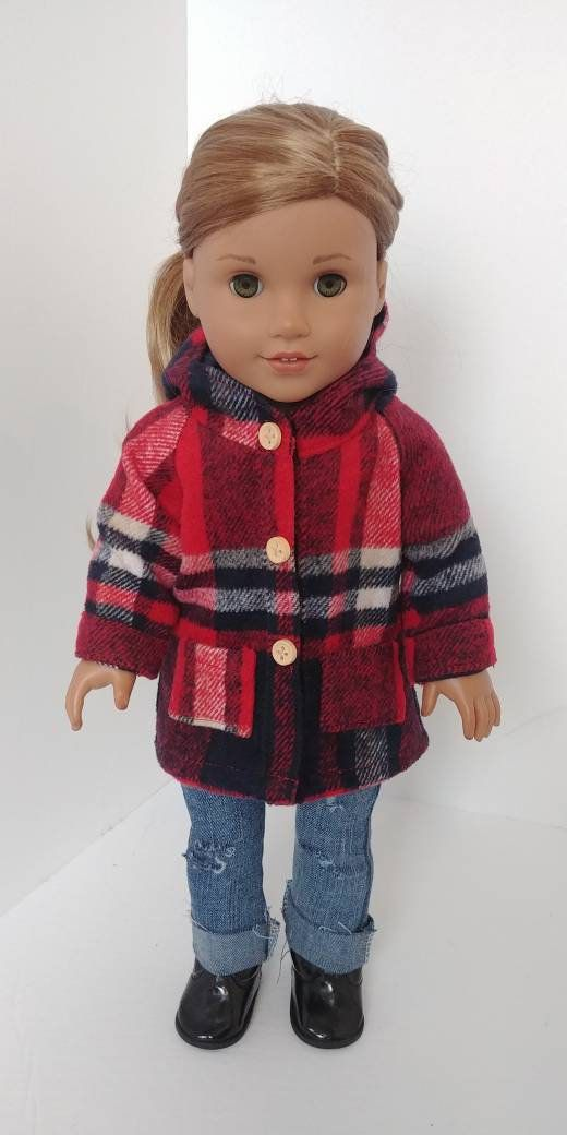 Doll coat or jacket. 18 inch doll clothing .Fits like American girl doll clothing. 18 inch doll clothes. Plaid coat #18inchdollsandclothes