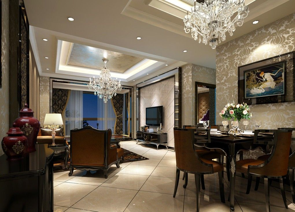 Add some shine to your dining room by adding a chandelier to the room