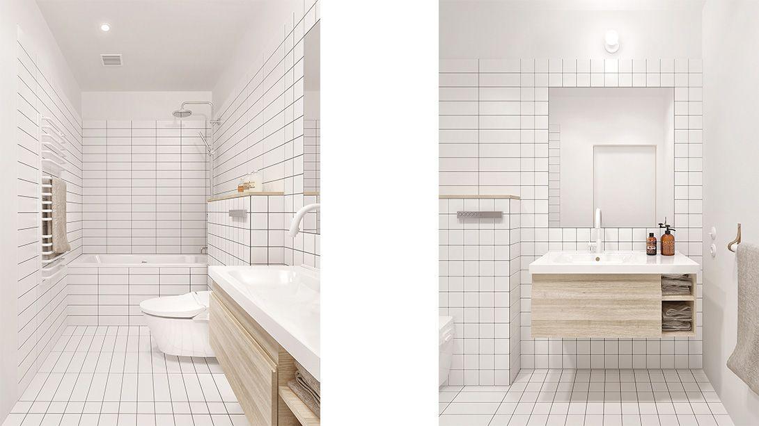 Minimalist interior with plywood Bathroom Desiged by