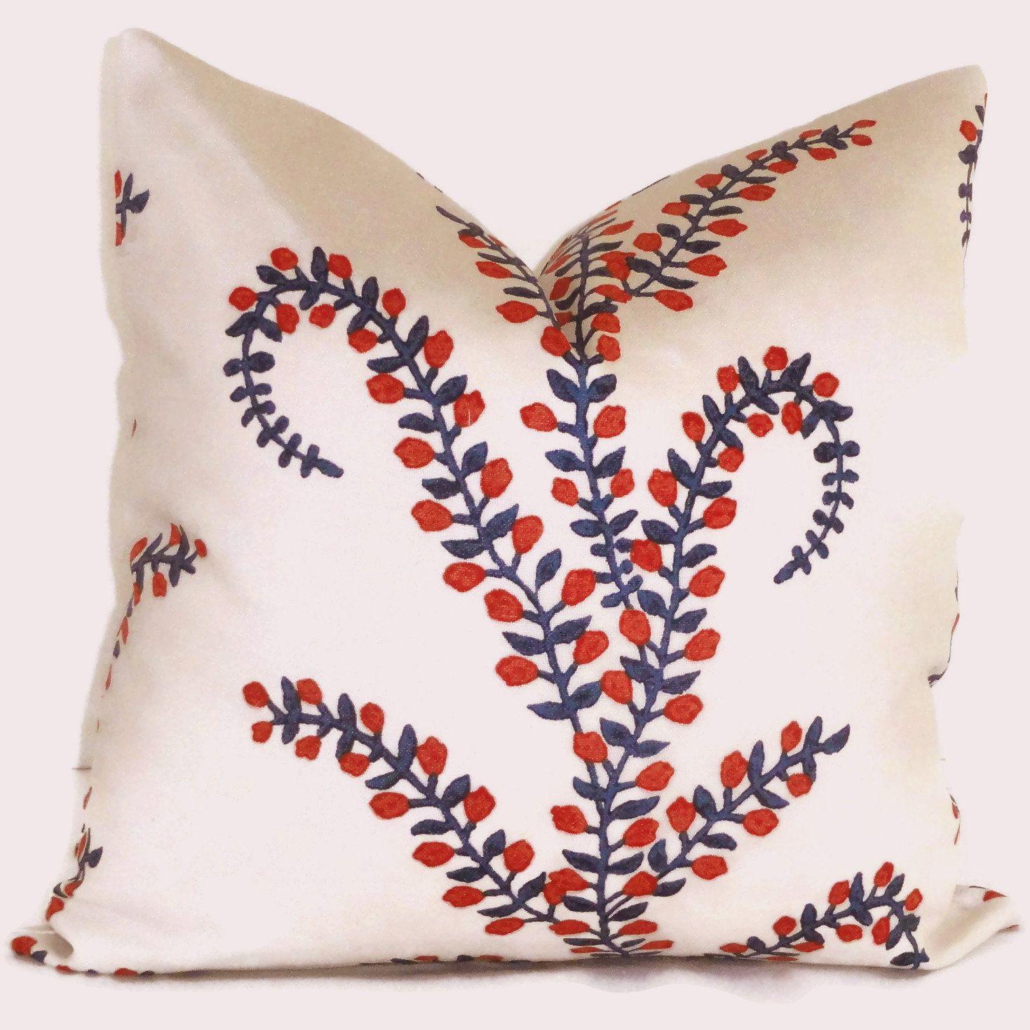 Red White Blue Prasana Decorative Pillow Cover Square or Euro