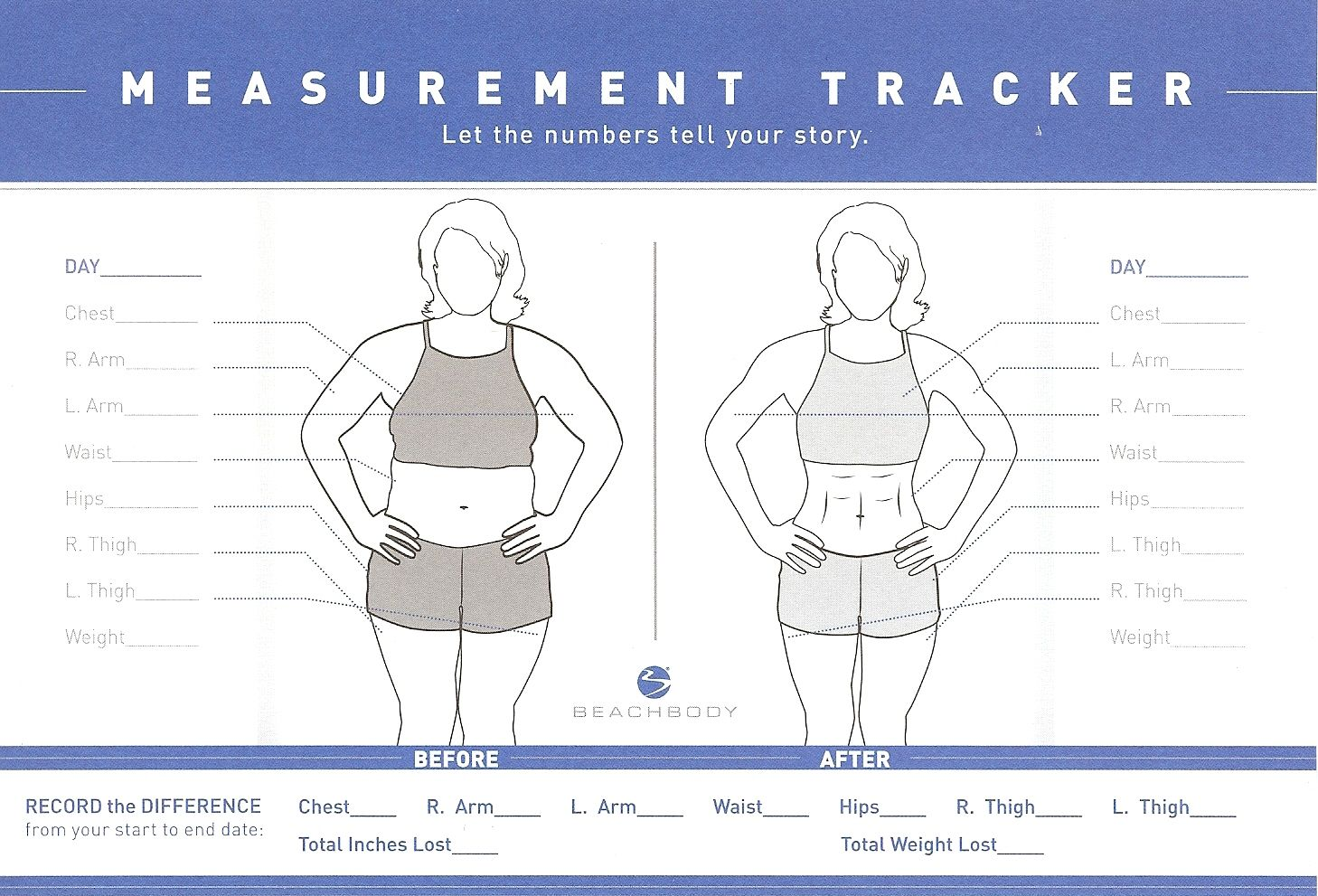 beachbody measurement tracker chart measurements tracker female