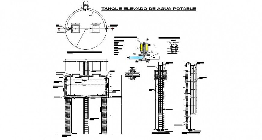 Water tank elevation, section, plan and constructive structure