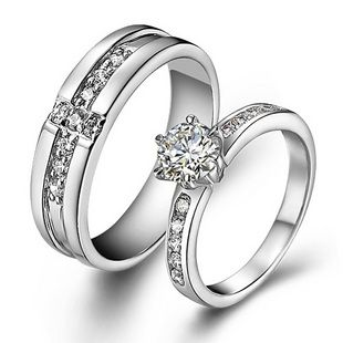 925 Sterling Silver Swiss Diamond Highend Wedding Couple Ring