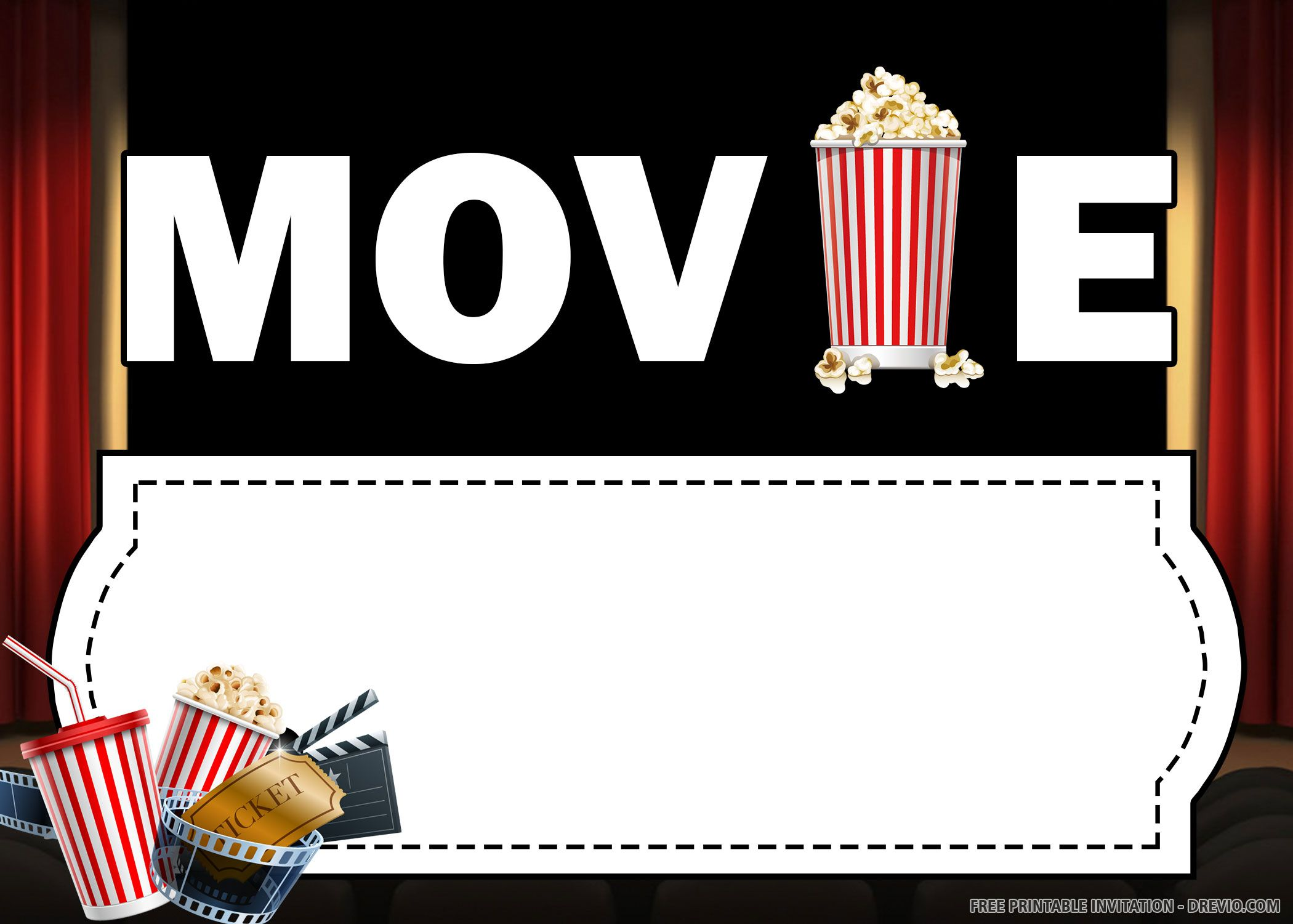 Free printable movie invitation templates free printable