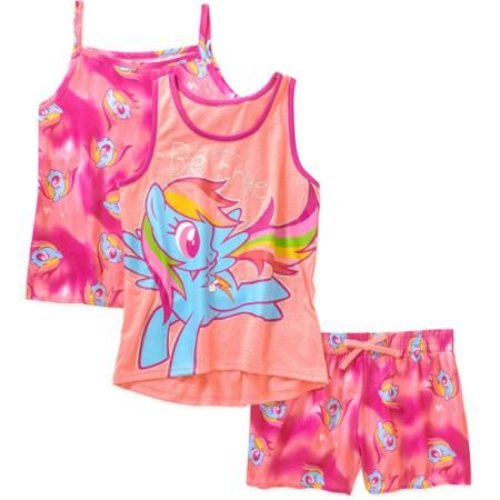 My Little Pony Girls' Tank, Cami, and Short 3 Piece Set - Walmart.com