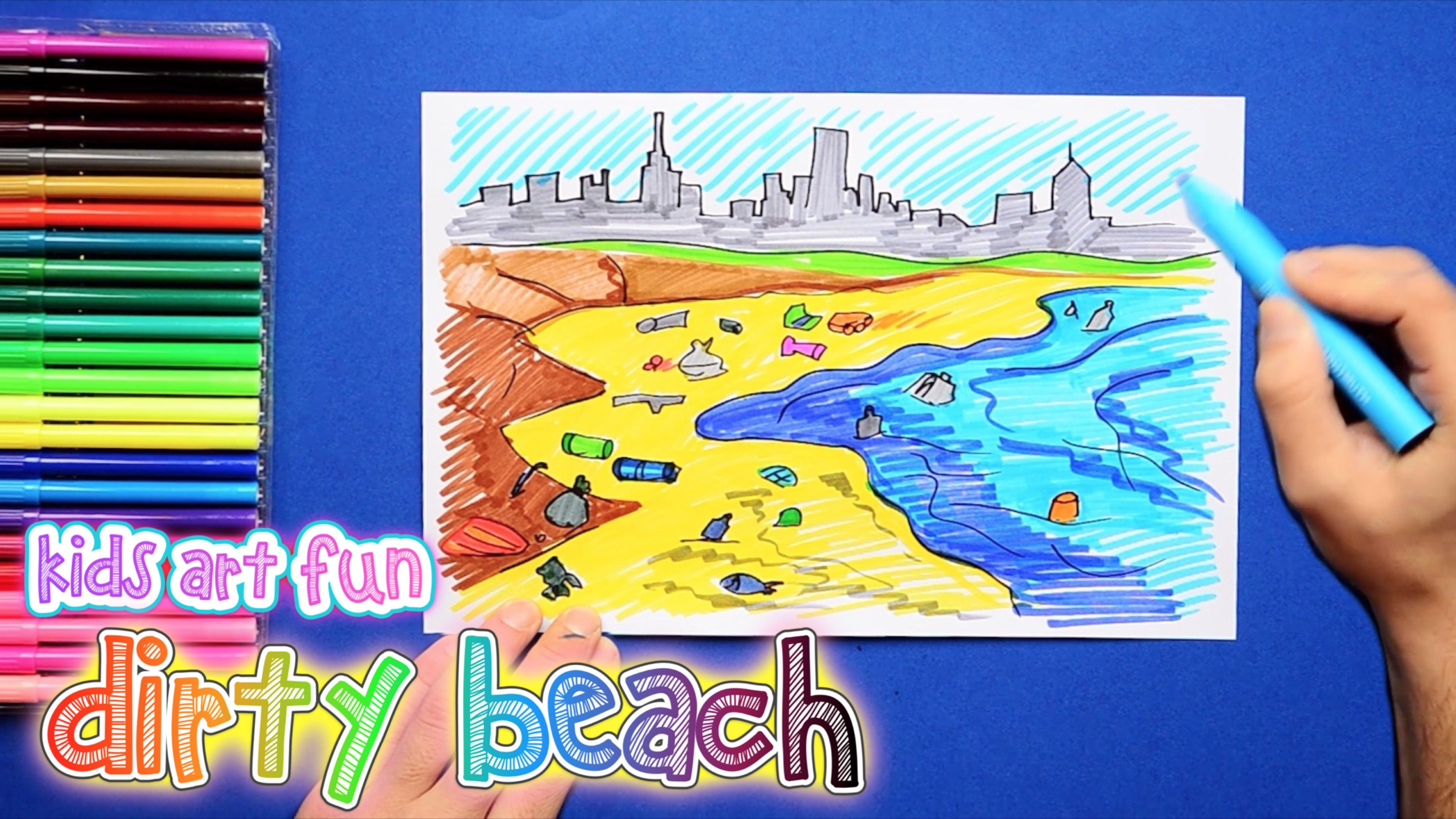 How to draw and color a dirty beach pollution in environment