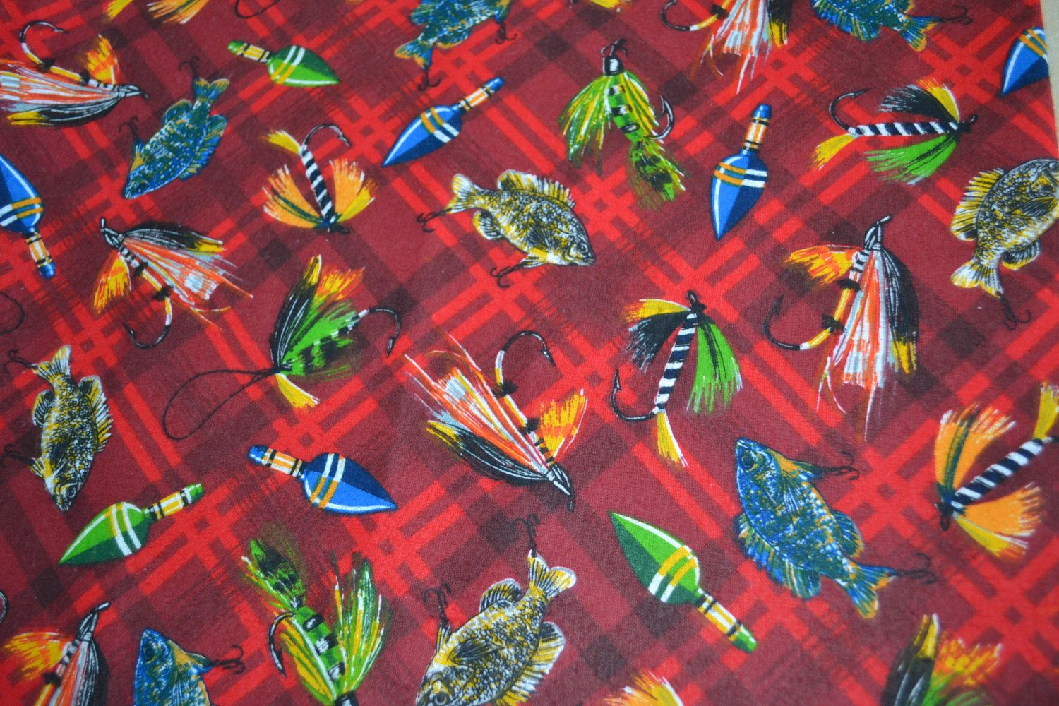 Red flannel fabric  Snuggle Flannel Fishing Lures on Red Plaid Cotton Print Fabric By