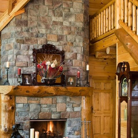 Traditional Log Homes Design Ideas Pictures Remodel And Decor With Images Rustic House Home Fireplace Log Home Decorating