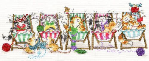 Kitty Knit cross stitch kit - Margaret Sherry