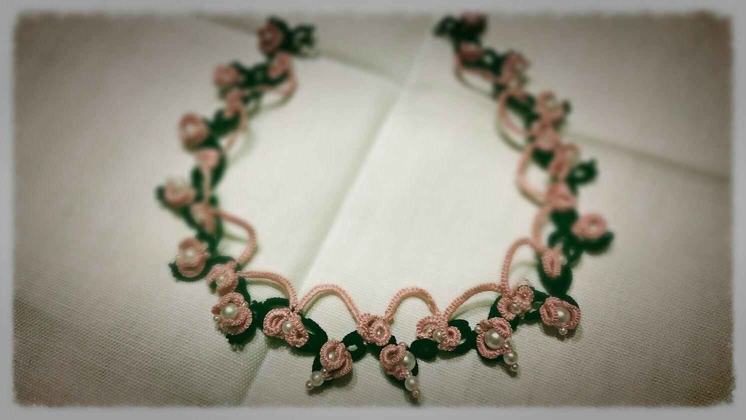Collana con perle - rosa e nero