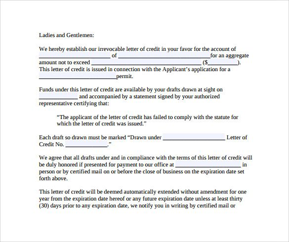 letter credit free samples examples formats card authorization - sample letter of credit