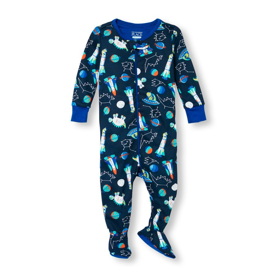 The Childrens Place Baby Boys Long Sleeve Footed Stretchie