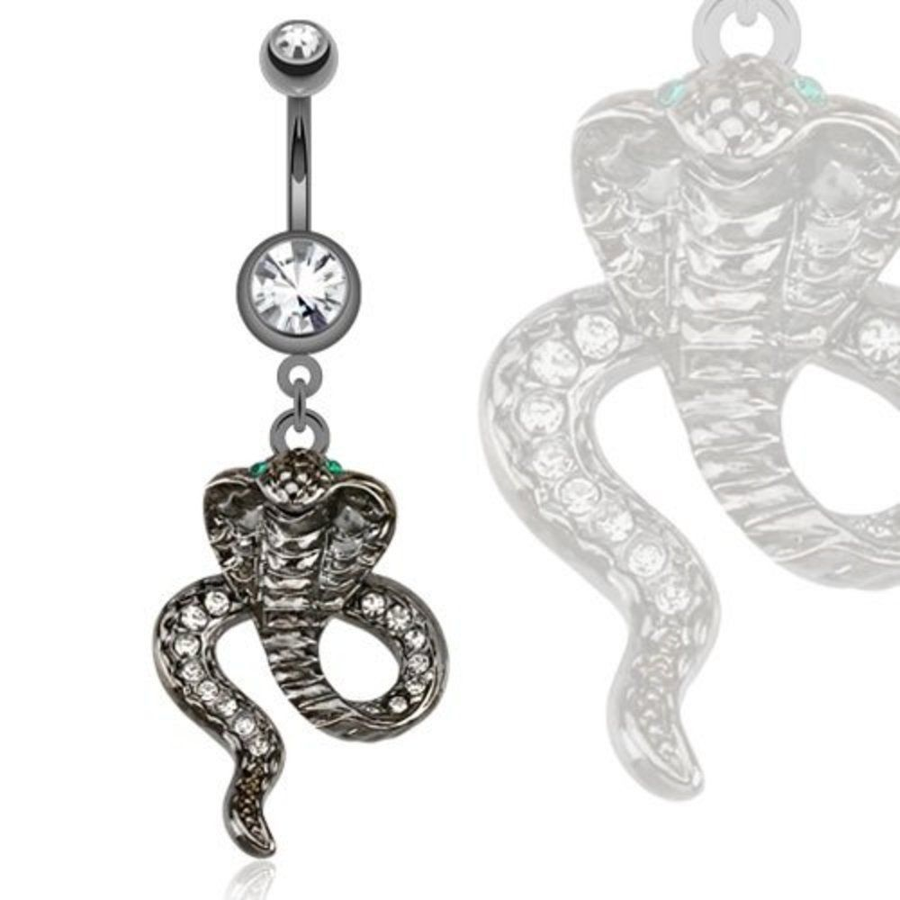Navel piercing ideas  Belly Button Ring Steel Hematite Cobra With Green Cz Eyes Dangle