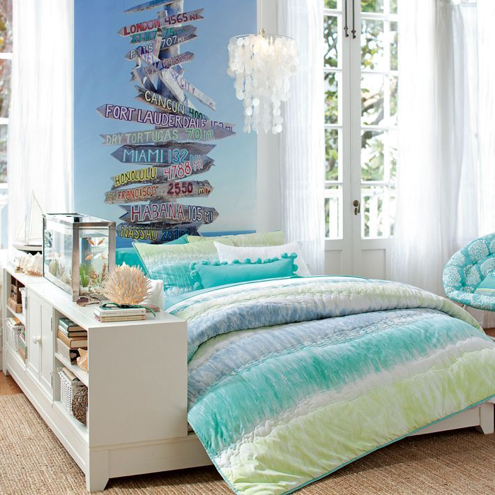 Bedroom Makeover Ideas Expensive Bedroom Sets Carpet For Girls Bedroom Barn Style Bedroom Door: Pottery Barn Teen Tie Dye Stripe Quilt Twin Blue Multi