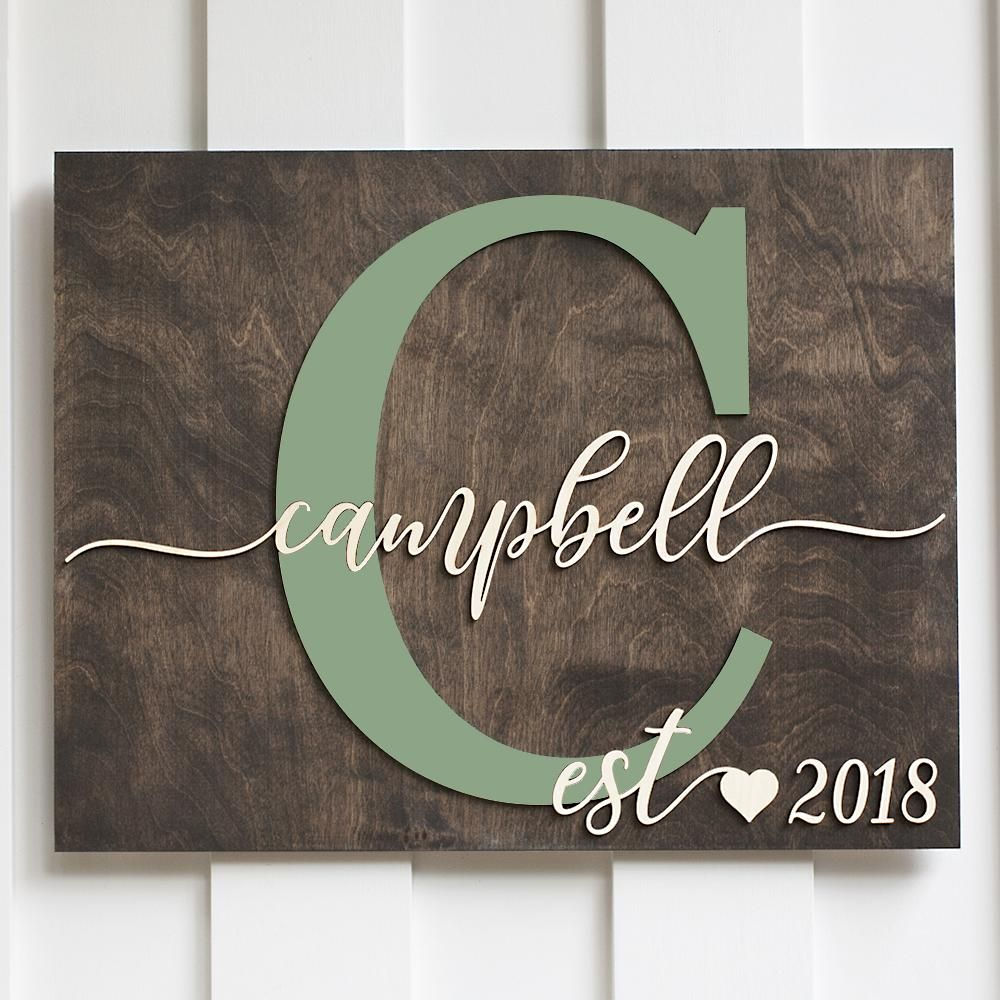 Personalized Sign Campbell Design Custom Wood Rustic Name Giftedoccasion