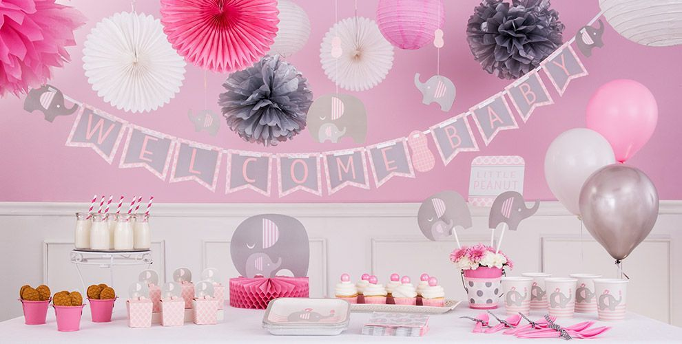 Pink Baby Elephant Baby Shower Decorations Party City Baby