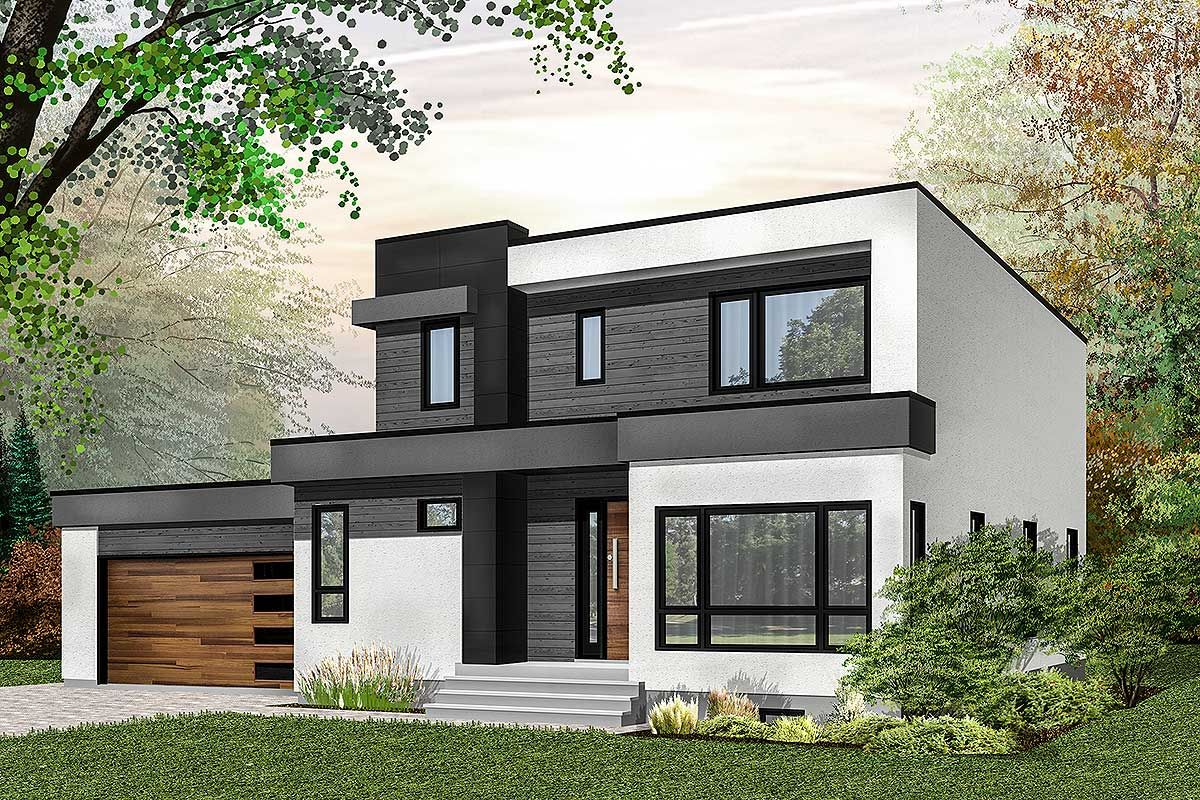 Plan 22487DR: Modern House Plan With Master-Up With Outdoor Balcony #outdoorbalcony